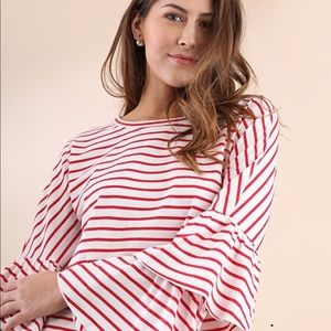 Striped knit shirt with double flounce sleeve